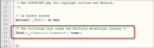 加入 mootools 函式庫支援